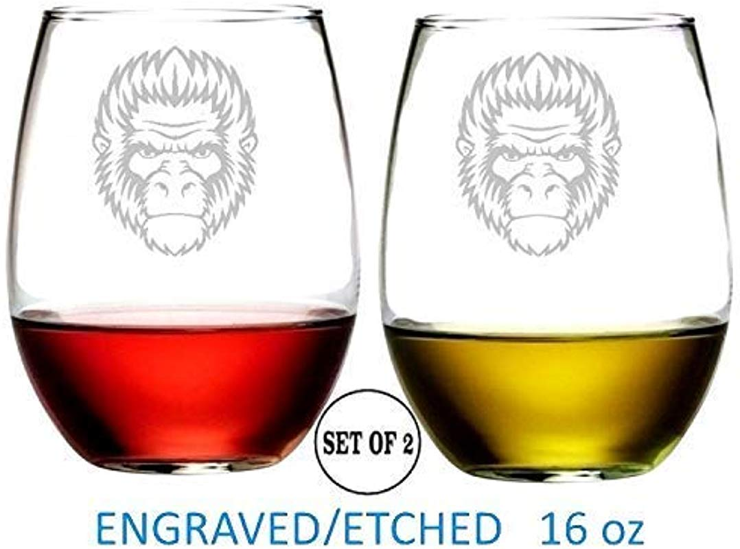 Gorilla Stemless Wine Glasses Etched Engraved Perfect Handmade Gifts For Everyone Set Of 2