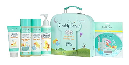 Childs Farm - Baby Bedtime Suitcase Gift Set, Baby Wash, Bubble Bath, Baby Moisturiser, Nappy Cream & Bath Thermometer, Sensitive Skin, Suitable for Newborns, 5 Items