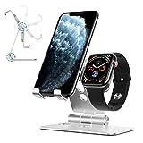 OMOTON Soporte Dual Móvil y Watch, Ajustable Aluminio Soporte 2 en 1 Compatible con iPhone/Samsung/Huawei/Xiaomi/Lenovo y Apple Watch 5/4/ 3, Multi-ángulo, Antideslizante, Plata