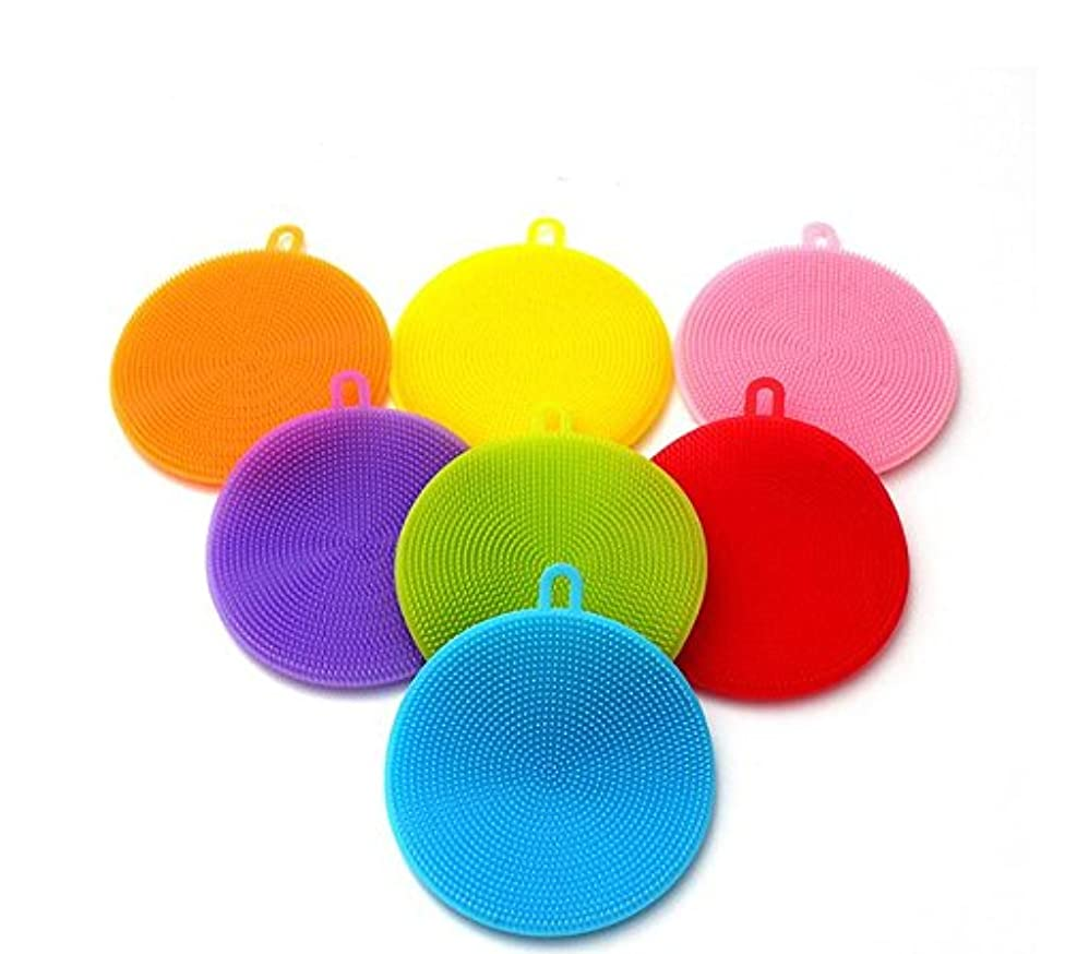Multi-function Kitchen Silicone Sponges Best Suitable for Kitchens Sponges Non Stick Mildew Brush for Washing Pan/Bowl / Wash Fruit and Vegetable Silicone wash dish brush,Pack of 7(mix color)