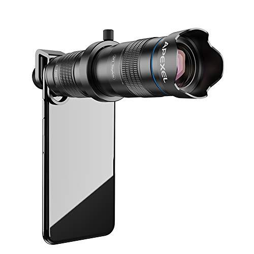 Telescopio monocular, HD 28X Teleobjetivo Zoom Lente de cámara de teléfono móvil con obturador, Foco ligero Catalejo con zoom Adecuado para eventos deportivos Conciertos Observación de aves Camping