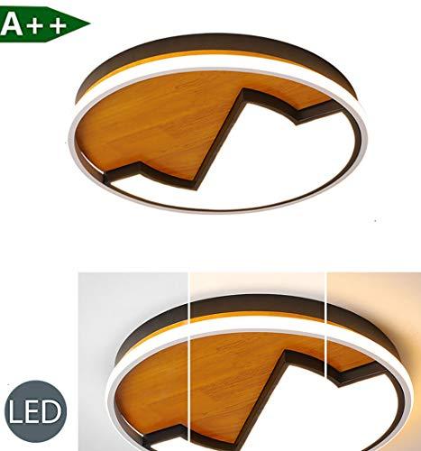 Moderne led-plafondlamp houten lamp ronde houten lamp eiken plafondlamp dimbaar plafond licht massief houten lamp met afstandsbediening voor kinderkamer slaapkamer woonkamer kamerlamp keukenlamp
