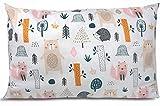 BALBINA Funda de cojín infantil de algodón, diseño decorativo (animales del bosque, 40 x 60 cm)