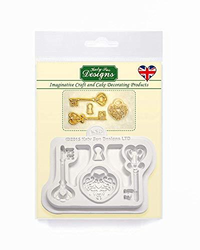 Decoratieve sleutels en medaillon versiering siliconen mal voor taartdecoratie, ambachten, cupcakes, suikerwerk, snoepjes, chocolade, kaarten maken en klei, voedselveilig goedgekeurd, gemaakt in het Verenigd Koninkrijk