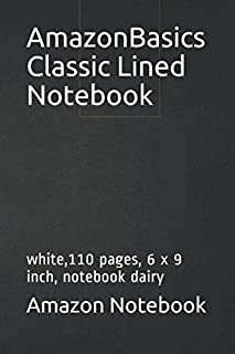 AmazonBasics Classic Lined Notebook: white,110 pages, 6 x 9 inch, notebook dairy