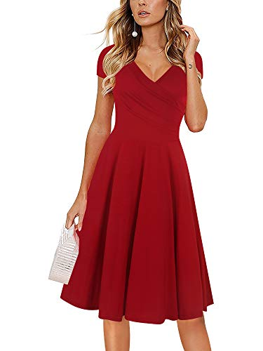 oxiuly Women's Chic V-Neck Cap Sleeve Casual Cotton Blend Work Stretch Swing Dress OX233