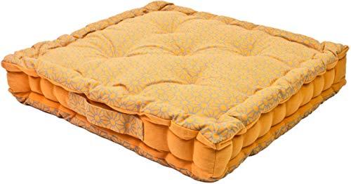 Alphadeco Sitzkissen Uni Lara 40x40x6cm aus 100% Baumwolle - mehrere Farben - Stuhlkissen Sitzkissen Sitzauflage Eckbank (Pfirsich/Sunset)