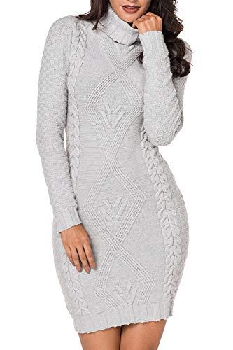 LaSuiveur Women's Slim Fit Cable Knit Long Sleeve Sweater Dress (S, Turtleneck Light Grey)