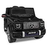 Daliya Kinder-Elektroauto Mercedes Benz G63 AMG Kinderauto Kinderfahrzeug 2,4GHz Bluetooth Fernbedienung und Hartgummi Bereifung (schwarz)
