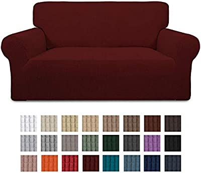 Easy-Going Stretch Loveseat Slipcover 1-Piece Couch Sofa Cover Furniture Protector Soft with Elastic Bottom for Kids. Spandex Jacquard Fabric Small Checks(loveseat,Wine)