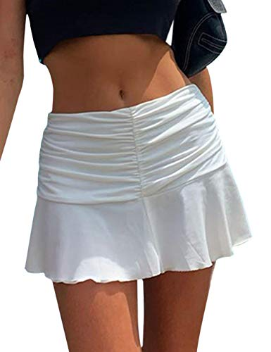 SAFRISIOR Women Y2K Ruched Ruffle Short Skirt High Waisted Stretch Pleated Tennis E-Girls 90s A-Line Mini Skirt White