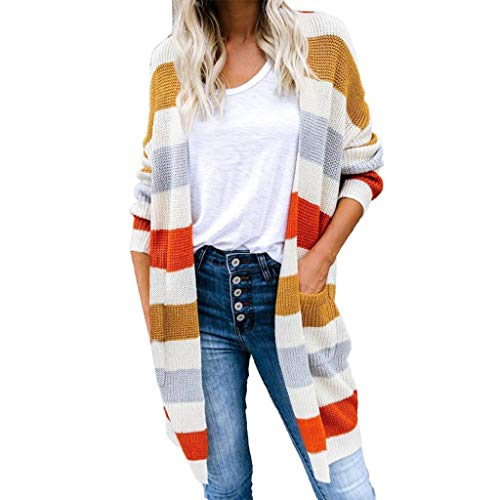 Buy Discount Hurrybuy Cardigan Sweaters for Women Long Sleeve Open Front Fall Knit Color Block Strip...