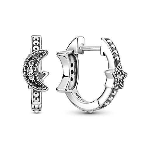 LILANG Pandora 925 Jewelry Bracelet Natural Auténtica Plata de Ley Crescent Moon Stars Beaded Europe Stud Pendientes para Abalorios de Moda Adecuado para Mujeres Regalo de Bricolaje