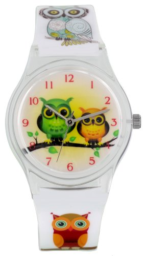 Pacific Time Damen-Armbanduhr Kunststoffarmband Eulen Analog Quarz Weiß 20336