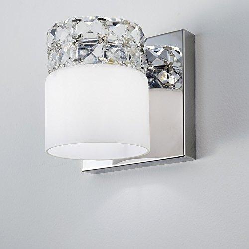 Arandela Bella Iluminação Allegro Branco/ Cromado/ Transparente