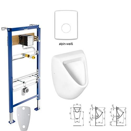WOW* Eurovit Urinal SET Sanit Element + Betätigungsplatte Redonda alpinweiß