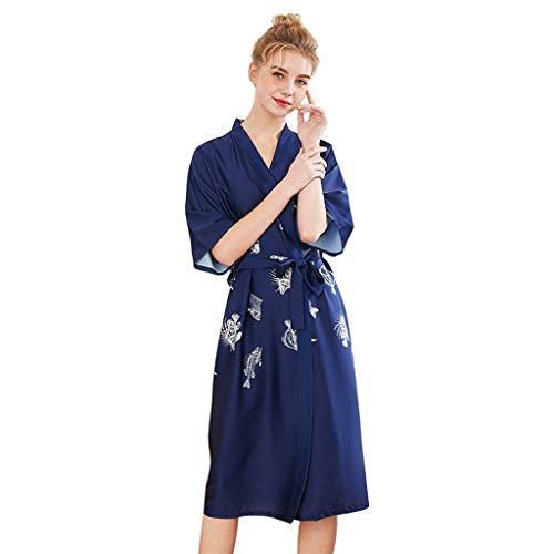 Women's Badjas Kimono Badjas, Silky Satin Robe Badjas Bruidsmeisje Nachtmode Pyjama Nightgown Womens Nachtkleding Badjas Patroon Sexy Nachthemd (Color : Navy blue, Size : M)