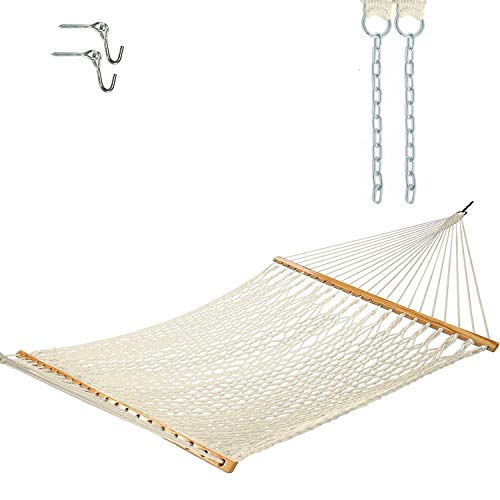 Castaway Hammocks 13 ft. Traditional Hand Woven Cotton Rope Hammock with Free Extension Chains & Tree Hooks, Accommodates Two People with a Weight Limit of 450 lbs.