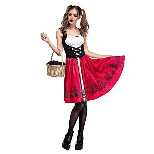Halloween Caperucita Roja Disfraz Adulto Cosplay Vestido,Sin Mangas Fiesta Creativa Vestido de Las Mujeres + Capa con Capucha Rojo S