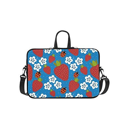 15.6″Lightweight Laptop Notebook Shoulder Backpack Bag Bright Pattern Strawberry Ladybird Waterproof PC Briefcase Messenger with Strap