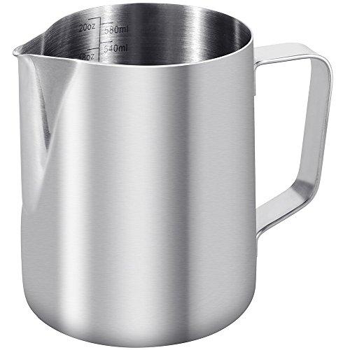 Anpro Milchkännchen 350 ml, 304-Edelstahl, Krug zum Milchaufschäumen, zur Herstellung von Kaffee, Cappuccino, edelstahl, 600 ML