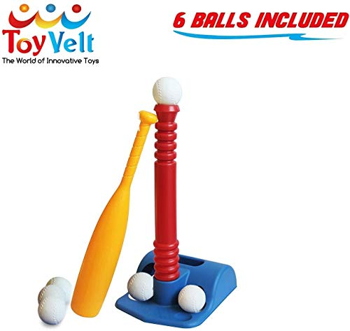 ToyVelt T-Ball Set for Toddlers, Kids, Baseball Tee Game Includes 6 Balls - Adapts with Your Child's Growth Spurts, Improves Batting Skills