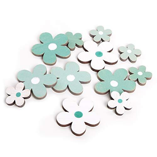Logbuch-Verlag 12 pequeñas flores de madera, color turquesa, azul y blanco, 3-5 cm, para decoración dispersa, para manualidades y decoración