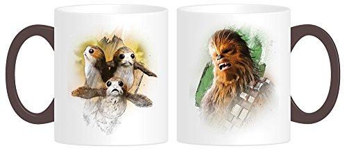 Star Wars Episode 8 Tasse Chewie und Porgs - weiß, Bedruckt, 100% Keramik, Fassungsvermögen 320 ml, im Geschenkkarton.