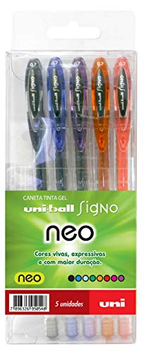 Caneta Gel, Uni-Ball, Signo Neo, 5 Cores