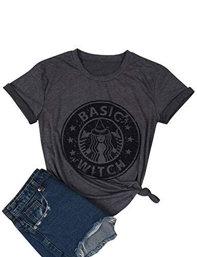 YUHX Damen Basic Witch T Shirt Lustige Grafik Print Oberteile Kurzarm Rundhals Tops