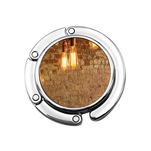 Lindo gancho plegable para bolso de mano, para mesa, bombillas Edison, antiguo, clásico, de ladrillo de pared, personalizable, bolsa de mesa