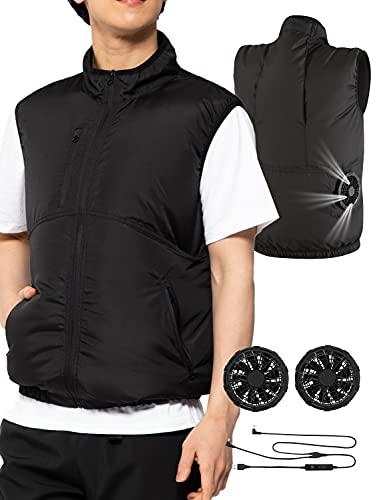 [アスター] 空調 服 ベスト ファン付き セット フィッシングベスト 軽量 熱中症対策 3段階調整 パワフル 静音 メンズ ブラック LL