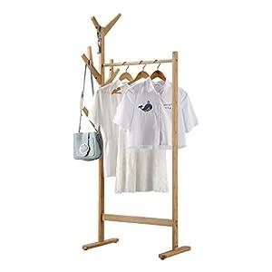 LANGRIA Perchero Burro de Bambú Colgador de Ropa de 8-Ganchos Tipo Árbol con Pies Ajustables para Chaquetas Abrigos Largos Vestidos Paraguas Sombreros (1 Barra, Color Bambú Natural)