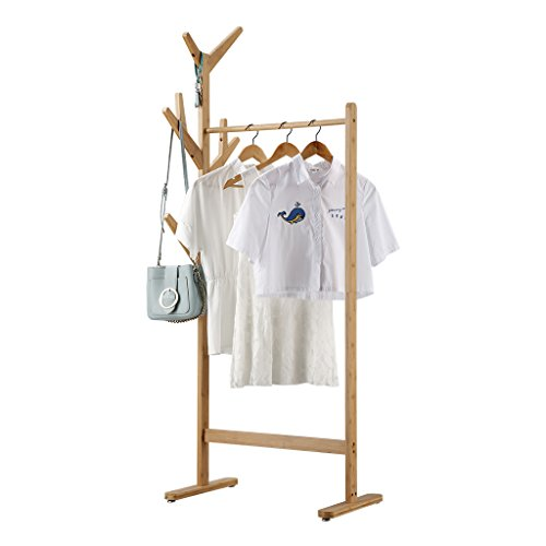 LANGRIA Bamboo Single Rail Garment Rack with Side 8-Hook Display Stand