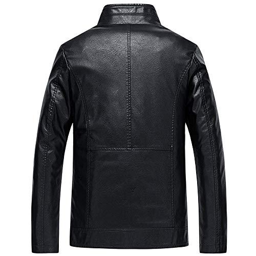 Men's Faux Leather Jacket Biker Fashion Cotton Coats Men's Stand Collar Large Size Casual-Black_L