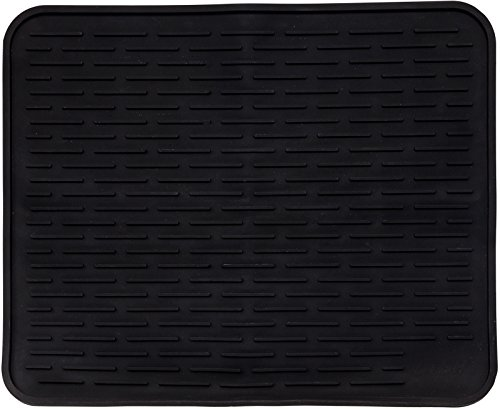 XL Silicone Dish Drying Mat 22 x 18 Inch - Large Counter Top Dish Pad and Trivet by LISH (Black, 22 x 18)