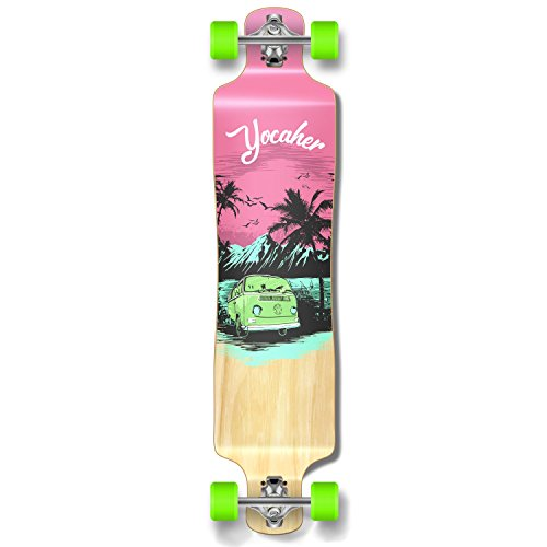 Yocaher Lowrider Drop Down Through Pro Complete Longboard Cruiser Freestyle Freeride Skateboard and Decks (Complete-VW-Pink N