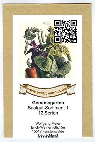 Samen - Saatgutsortiment - Set - Mix - Mischung - kleiner Gemüsegarten Startset - 12 Sorten - 1.380 Samen