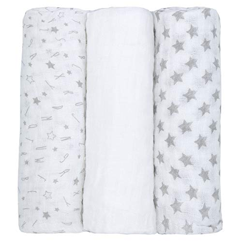 Newborn Baby Muslin Cloth Squares (3 Pack 76x76cm) 100% Cotton Swaddle Blanket for Boys & Girls Grey