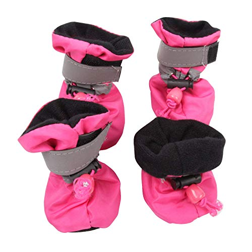 royalwise Anti-Slip Winter Dog Boots Pet Shoes Soft Stockings Paw Protector Booties for Small Dogs (M, SprRose)