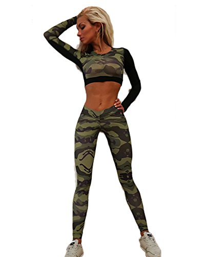 Chandal Mujer Crop Top+Leggins Deportes Dos Piezas Militar Manga Larga Cuello Redondo Mallas Yoga Running Corto Camisetas+Joggers Pantalones Conjuntos Entrenamiento Ropa Deportiva