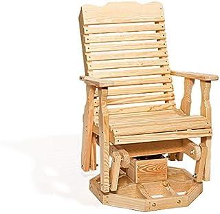 Peaceful Classics Wooden Rocking Chair Glider Amish Furniture | High Back Rocker Swivel Glider