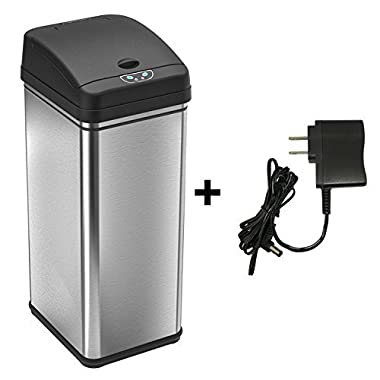 iTouchless Battery-Free Automatic Trash Can, 13 Gallon Stainless Steel Sensor Kitchen Trash Can includes Deodorizer and AC Power