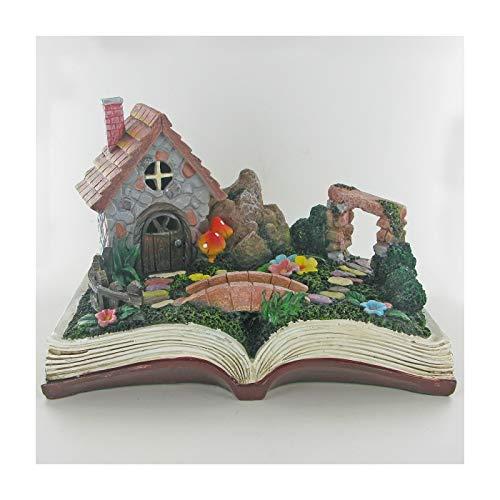 Prezents.com Maison de fée en pierre sur scène de livre magique, décoration d'extérieur fantaisie pour lutin lutin