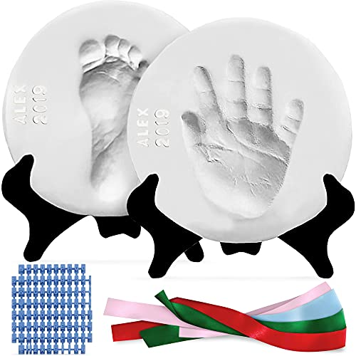 Luna Bean Deluxe Baby Handprint and Footprint Kit - Clay Baby Casting Kit - Gifts & Baby Keepsake Products for New Moms - Inkless Hand and Footprint Kit - 2-Pack with Easels & 4 Ribbons (Glaze Finish)