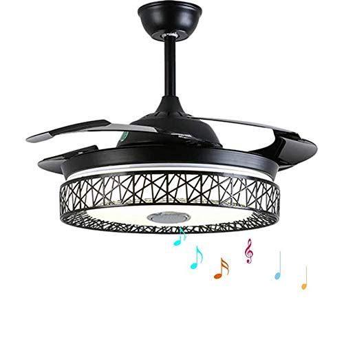 "MoreChange 42"" Modern Smart Bluetooth Ceiling Fans with Lights and Remote Control, Retractable Chandelier Fan Lighting with Speaker Play Music 7 Colorful Dimmable Fixture for Bedroom/Living/Room"