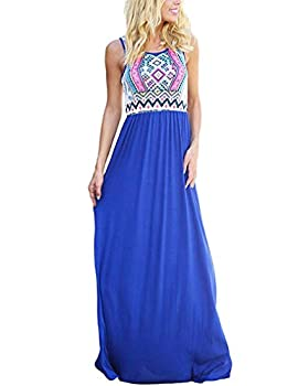 Sherosa Womens Summer Boho Floral Print Maxi Dress Sleeveless Long Dresses  L T-Blue