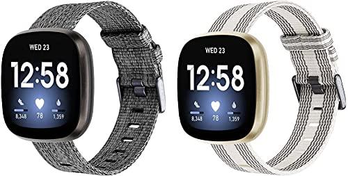 Gransho Correa de Reloj de NATO Nailon Compatible con Fitbit Versa 3 / Fitbit Sense, Mujer y Hombre, Hebilla de Acero Inoxidable (Pattern 3+Pattern 4)