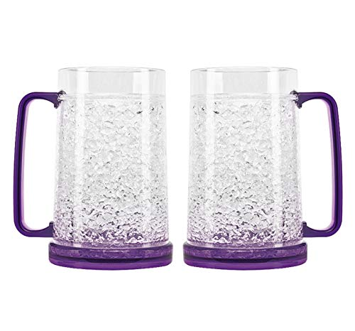 Crystal Freezer Mug | Double Wall Insulation for Cold Drinks, Purple, 16 Oz, Set of 2