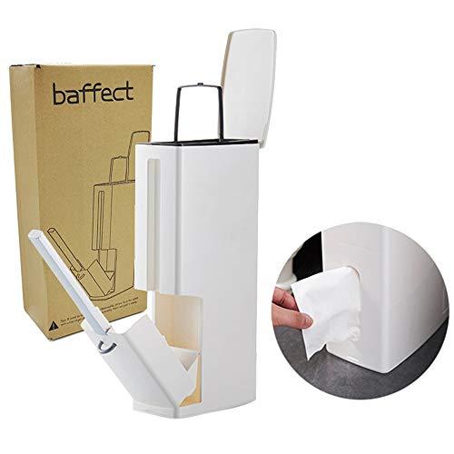 Baffect Juego de cepillo para inodoro y papelera,Soporte para inodoro para baño Cepillo con curva Multifunción 4 en 1 Bote de basura y cepillo para inodoro y estuche para set de pañuelos (Blanco)